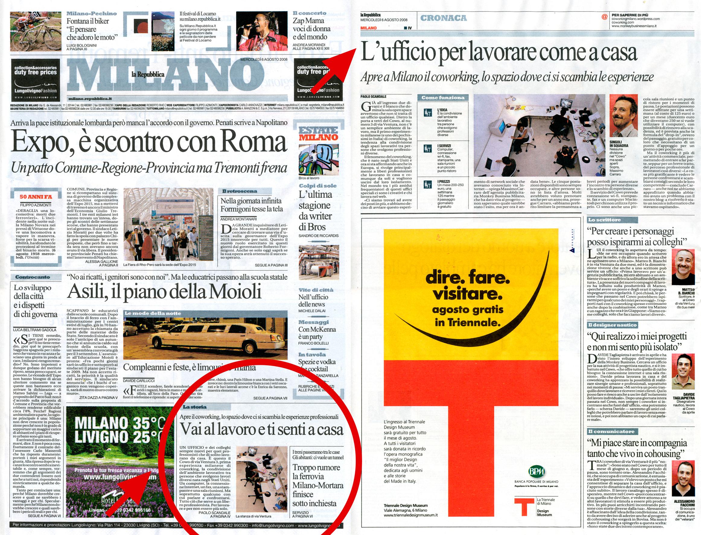 Cowo su Repubblica: l'articolo completo e le interviste ai coworker.