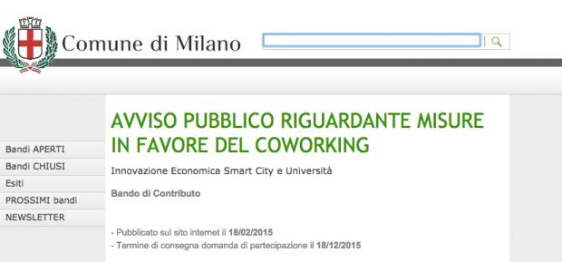 Milano: incentivi economici al coworking
